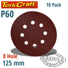 SANDING DISC VELCRO 125MM 60 GRIT WITH HOLES 10/PK